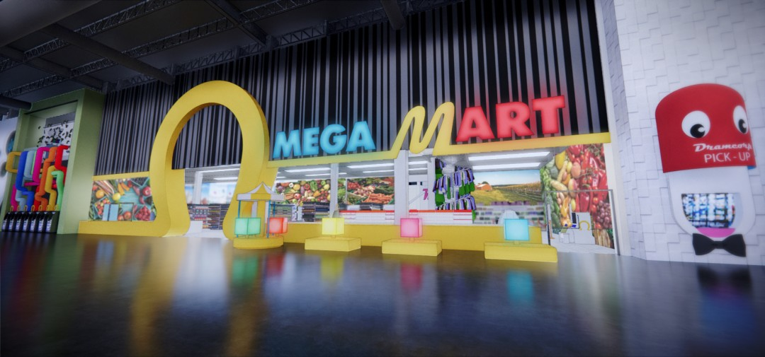 Neon Omega Mart sign