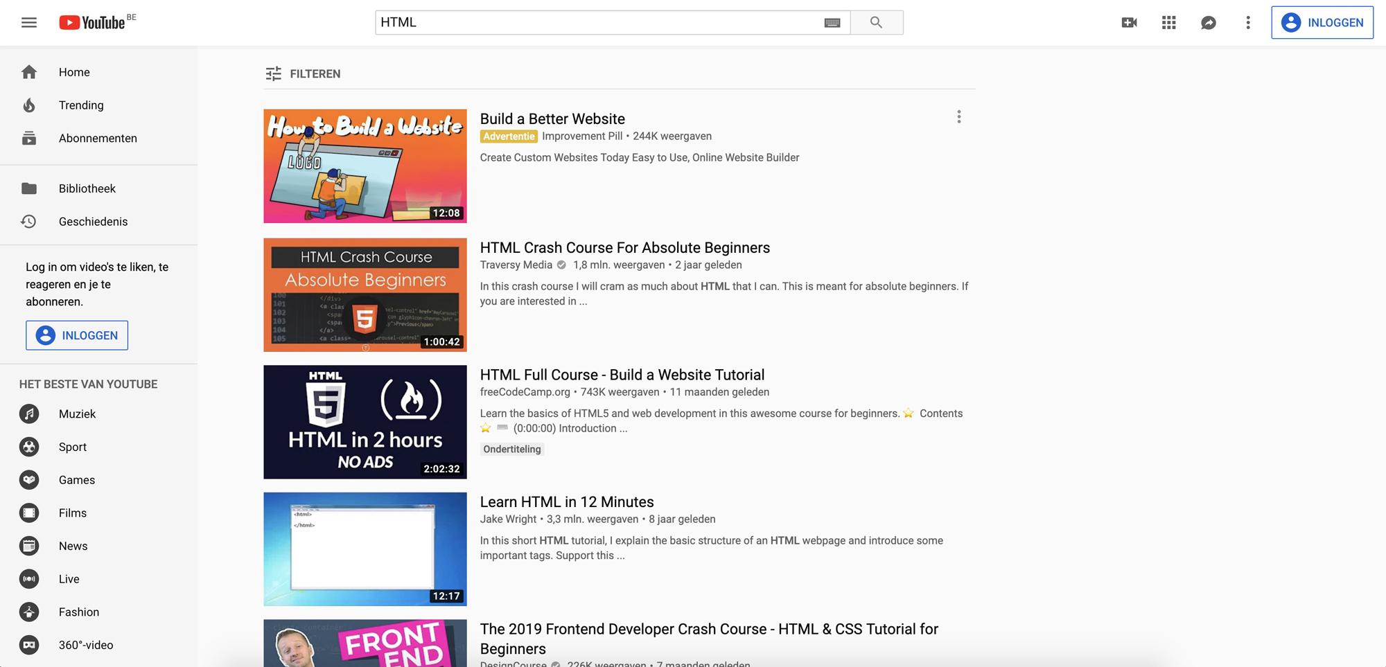 Youtube dashboard