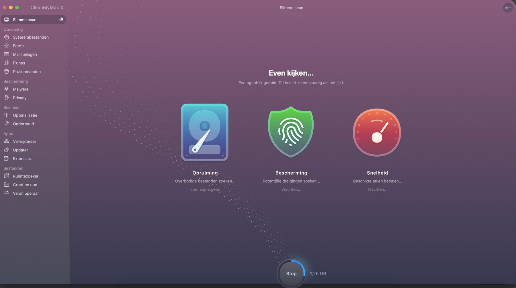 CleanMyMac scan interface