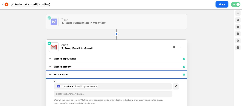 Zapier automatic mail