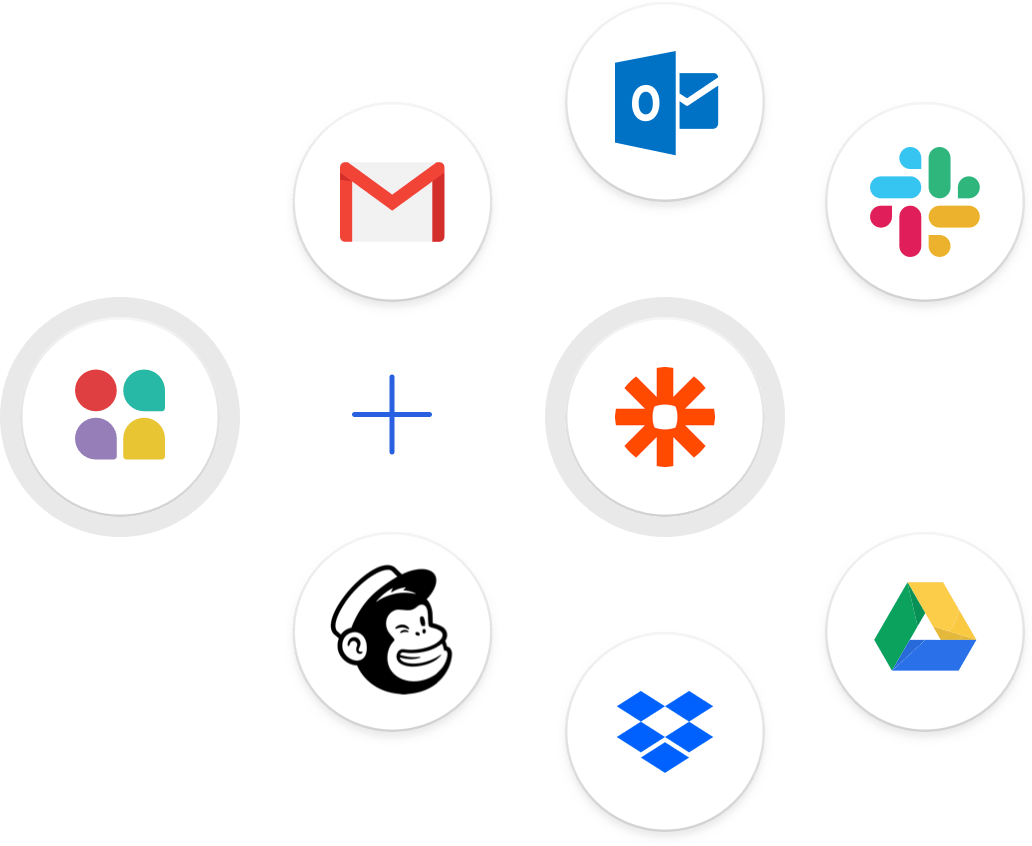 Attio integrations including Gmail, Outlook, Google Drive, OneDrive, and Zapier