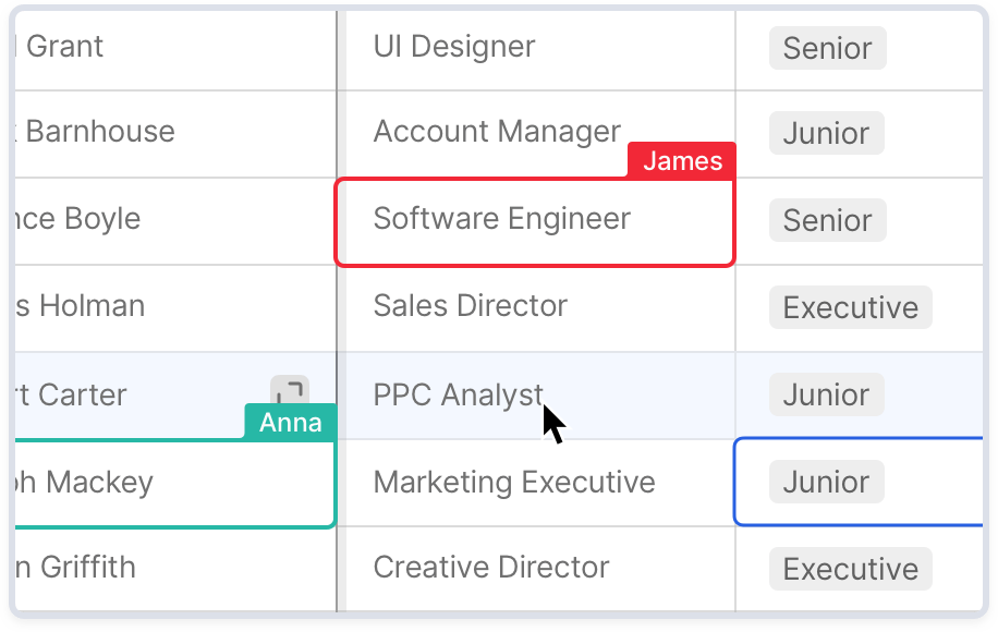 Four users editing a table of hiring candidates at the same time from different devices