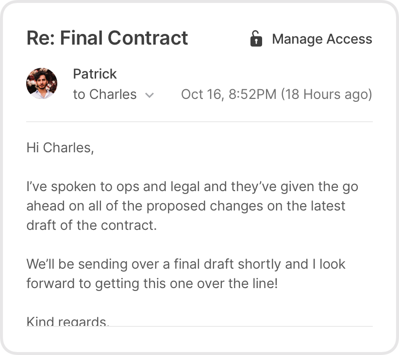 Email from a customer showing the acceptance of a final contract