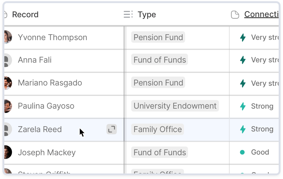 User organizing their investor network by fund type and relationship strength