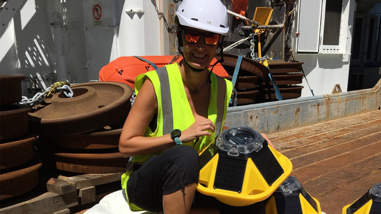 Dr. Aitana Forcén-Vázquez, Principal Investigator with Metocean Solutions, aboard the Research Vessel Tangaroa on the science voyage to Antarctica with NIWA and the University of Auckland.