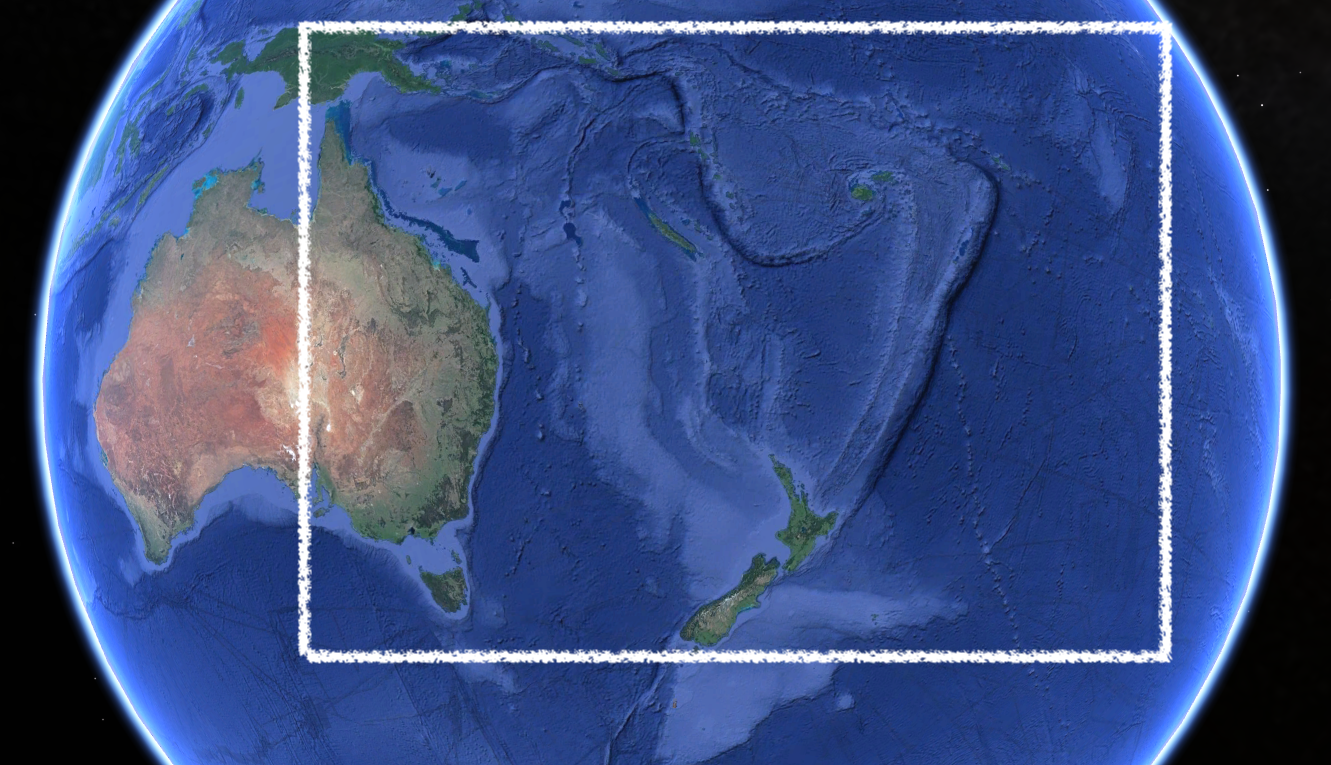 Area of observation, Southern Pacific Ocean