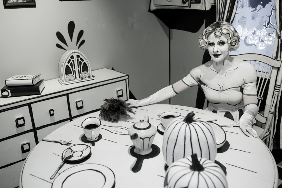 "Wylla Aurora Skye is the monochrome host inside ""The Cartoon Kitchen"" room."