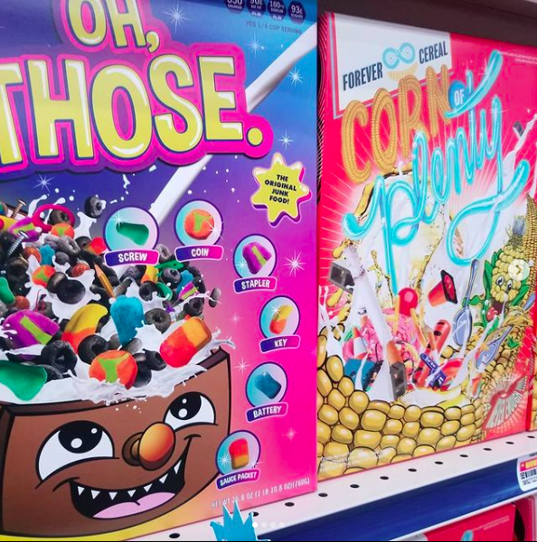 """Boxes of """"Oh, Those"""" cereal and """"Corn of Plenty"""" plastic cereal"""