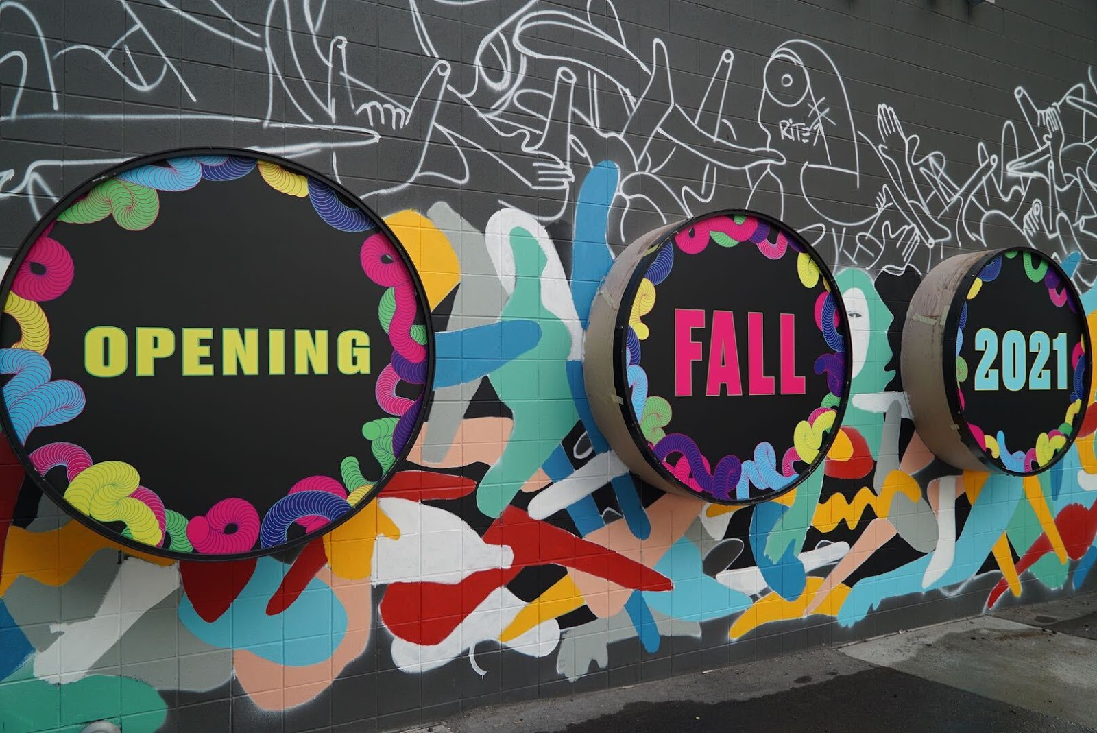 Meow Wolf Denver Opening Fall 2021 in art on a black wall