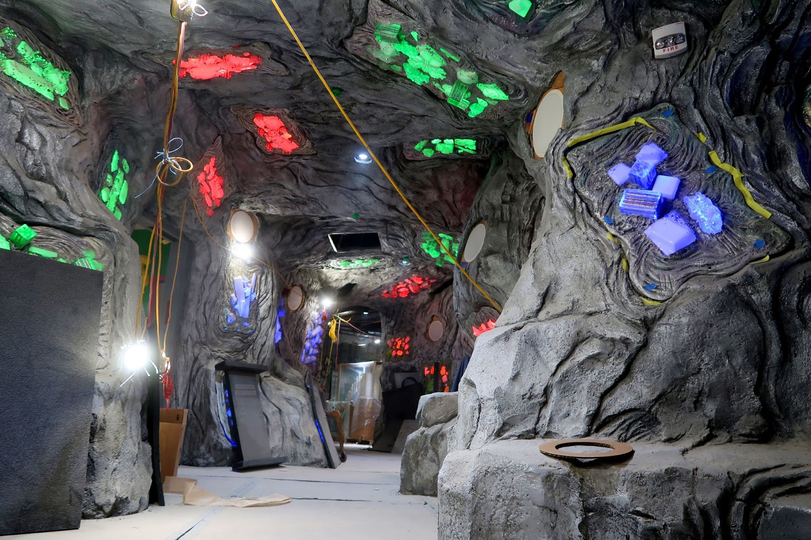 Meow Wolf Denver cave with bright gem colors