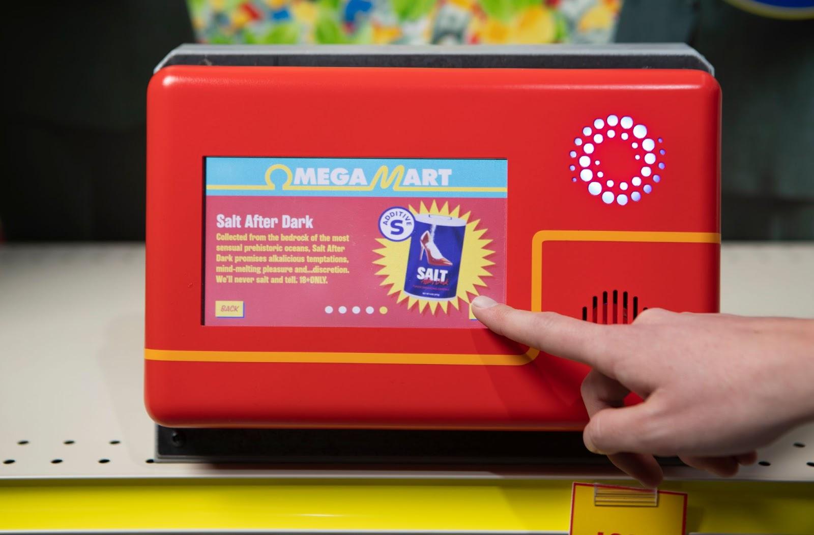 Omega Mart boop station displaying more information about Omega Mart product Salt After Dark