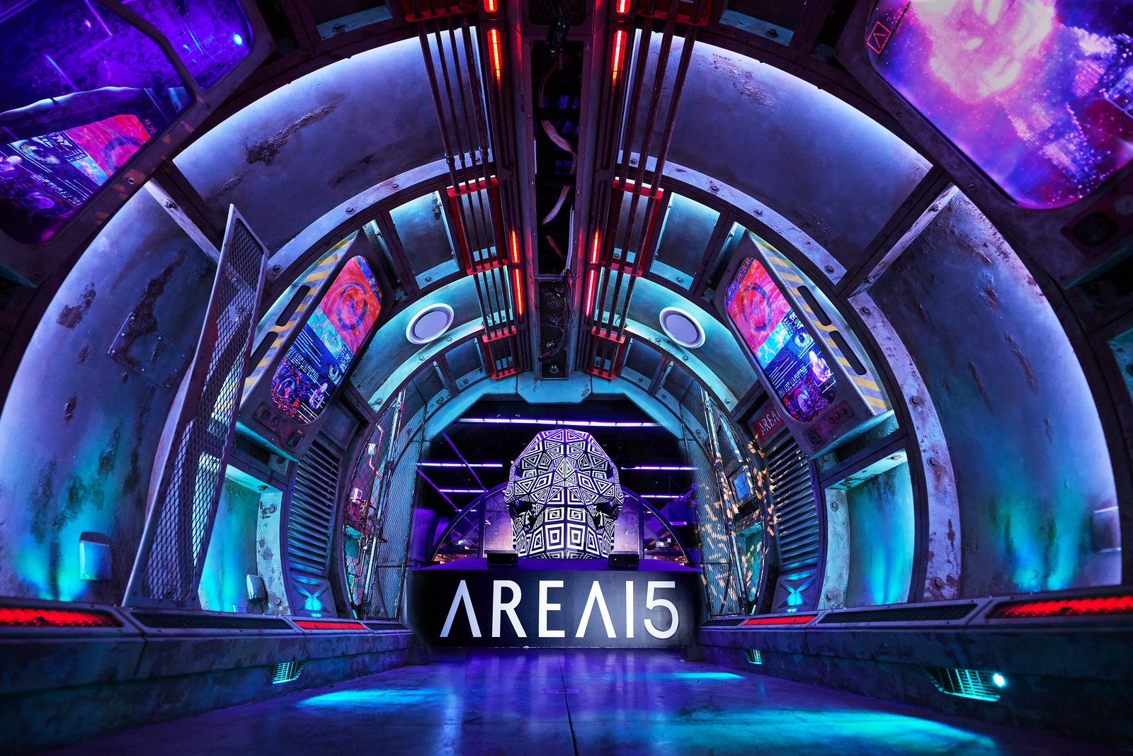 AREA15 portal entrance with AREA15 logo and Skull Art