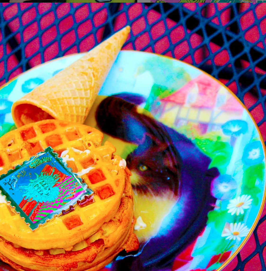Waffles spilling out of a waffle cone. Waffle Cone Club pins live painted for a Shpongle show at Red Rocks Amphitheatre.