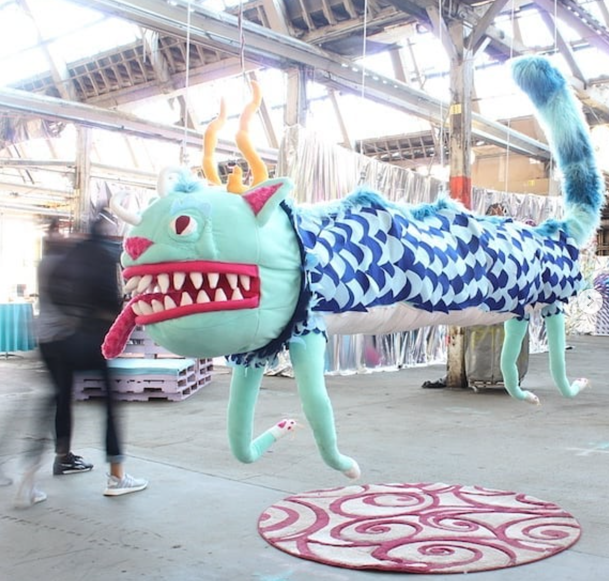 Floating cat dragon for Far Out Factory inside Meow Wolf
