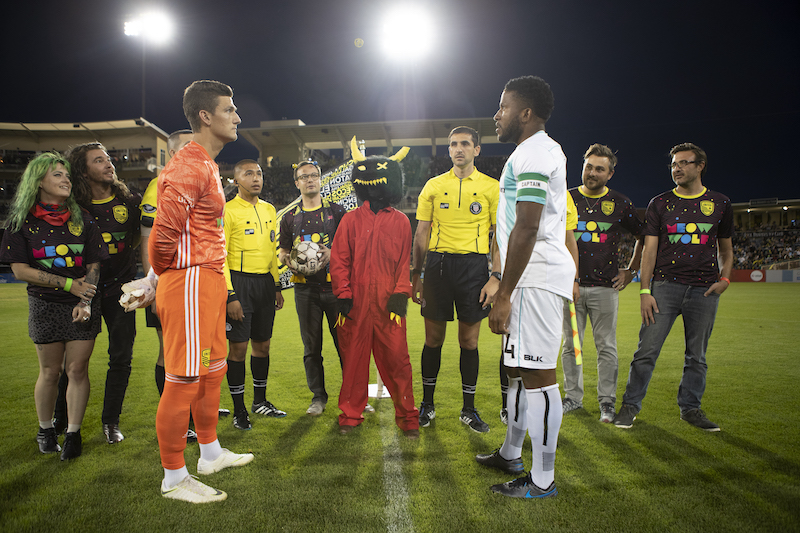 Snaggy on the soccer pitch on Meow Wolf Night 2019