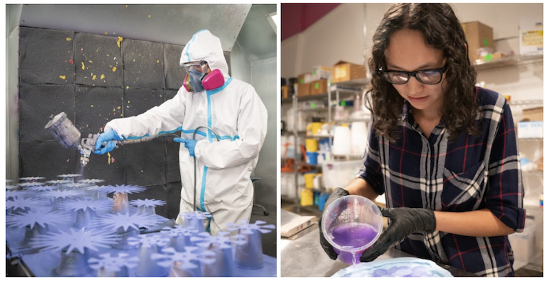 Gilbert White working in the paint booth and Jazmin Novack pouring purple resin into a mold.