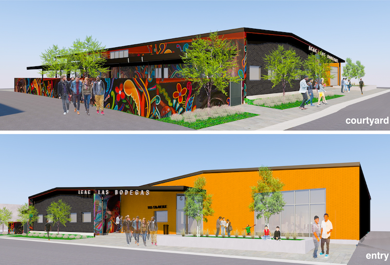 Mock up of Las Bodegas building from the courtyard and entry viewpoints