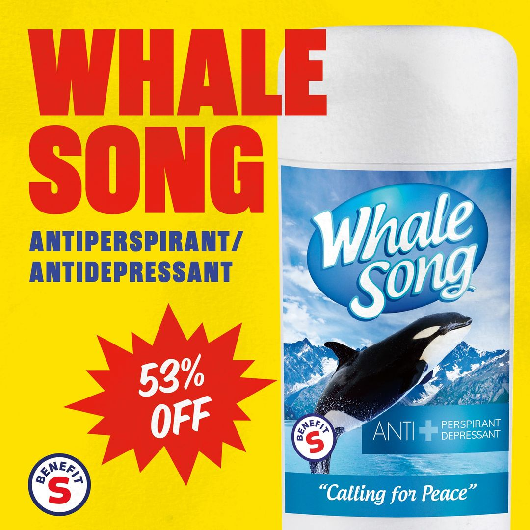 Whale Song deodorant on a yellow background with the text 53% off