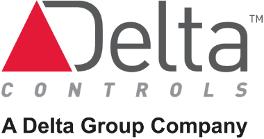 Gray logo with a red triangle that says, Delta Controls. Just below is a black tagline that says, A Delta Group Company.