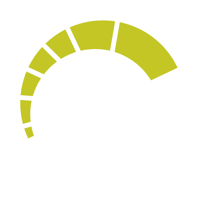 White and green speedometer icon