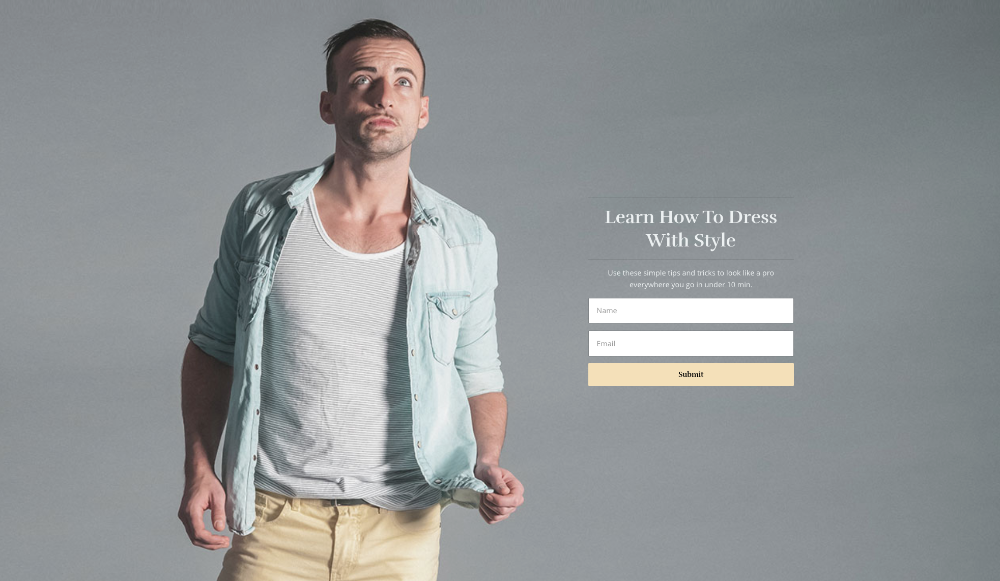 Landing page with a large hero image of a young man wearing trendy clothing, looking off in the distance