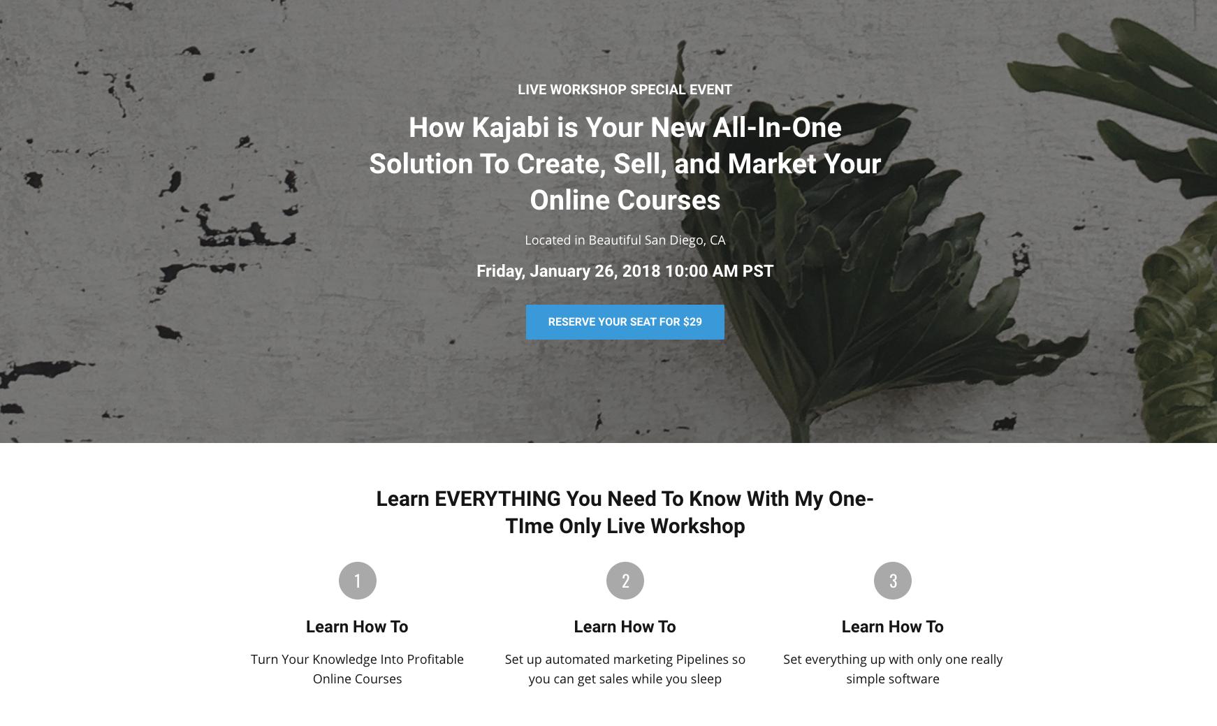 Kajabi workshop landing page with CTA