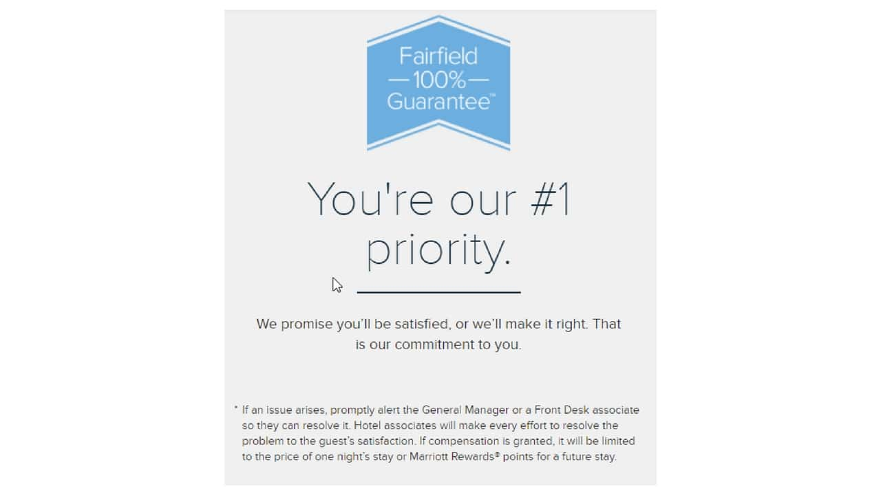 Fairfield's disclaimer for a 100% satisfaction guarantee