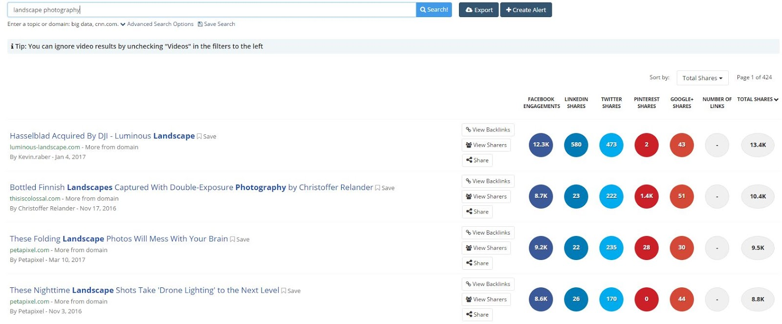 Screenshot of BuzzSumo search results for