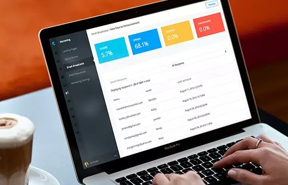Hands typing at laptop displaying marketing success metrics