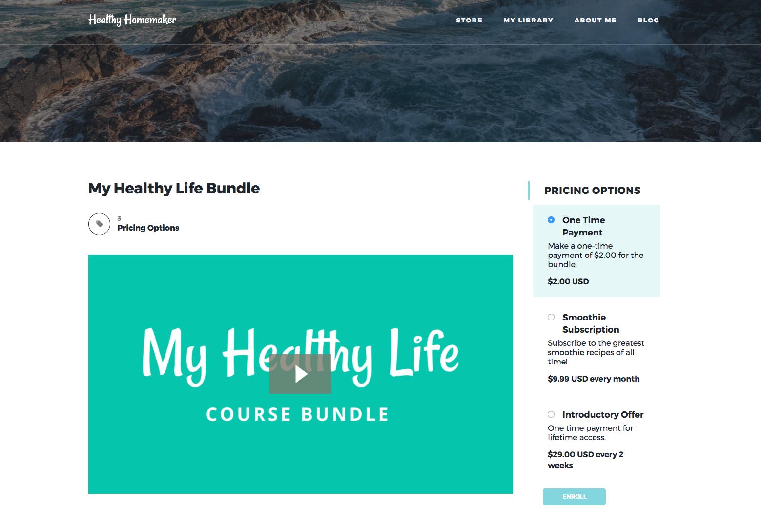Screenshot of Kajabi online course bundle about healthy living