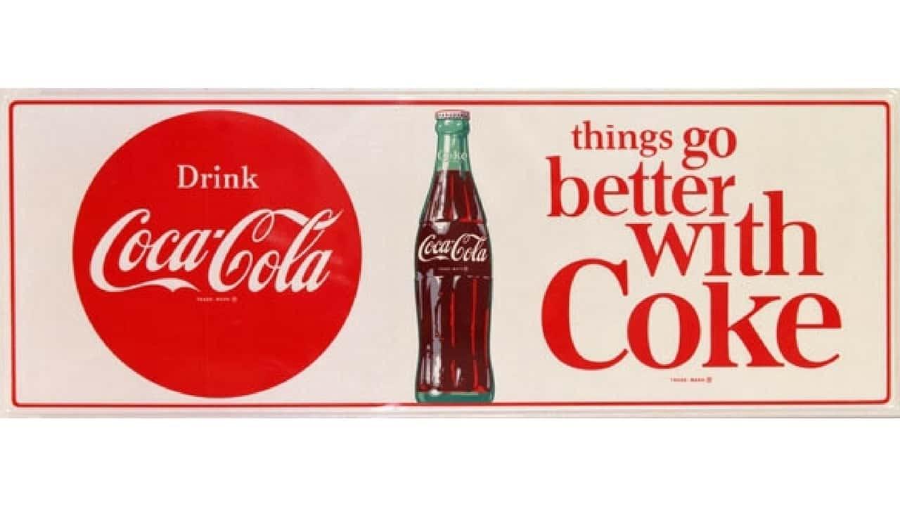 Coca-Cola logo and tagline
