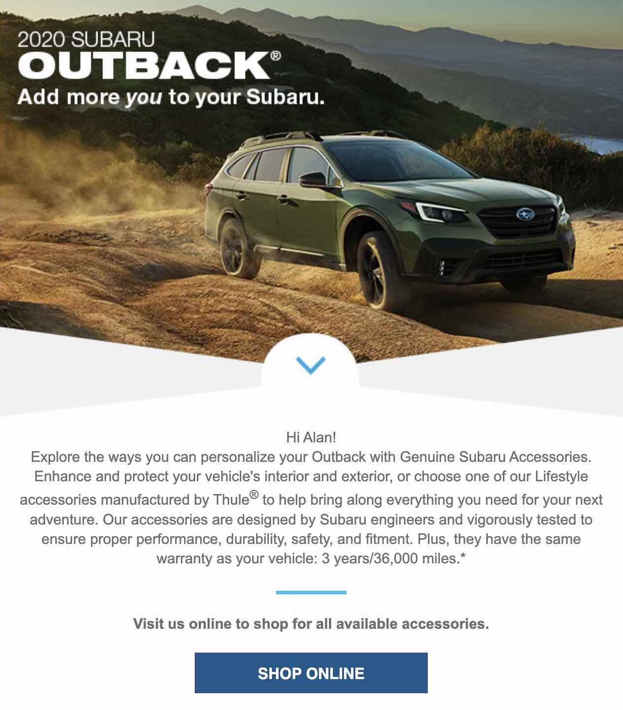 Screenshot of an email promoting the 2020 Subaru Outback