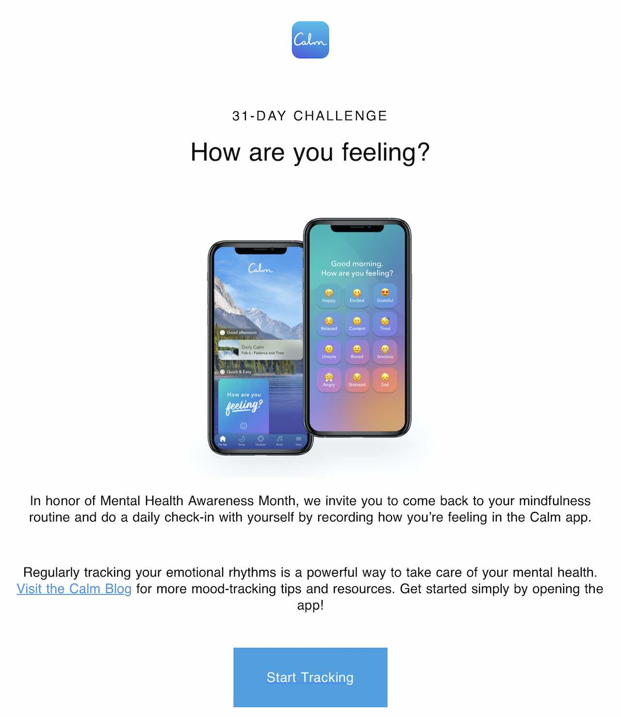 Screenshot of an email from The Calm app