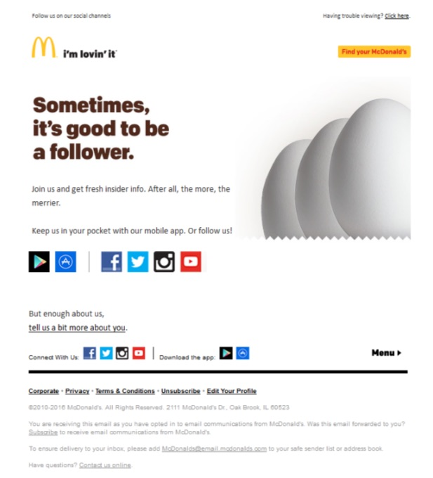 Screenshot of McDonald's email featuring three eggs standing in a row, with a message promoting their social media accounts