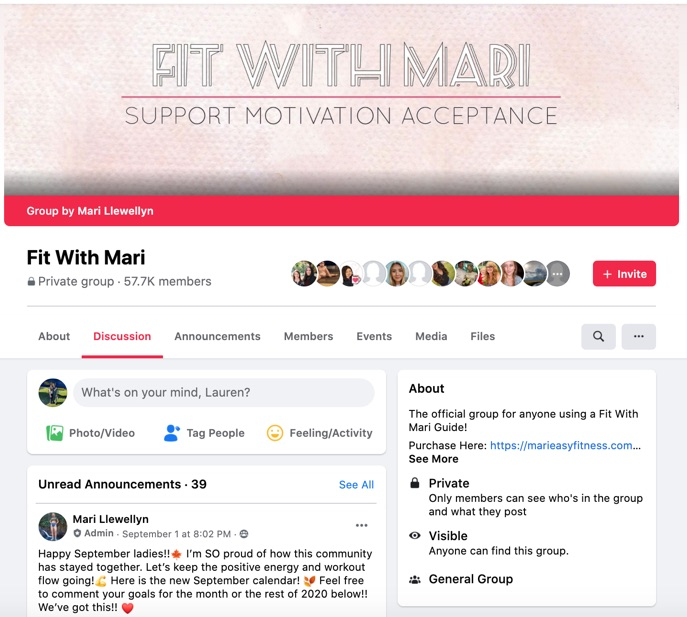 """Screenshots showing private """"Fit with Mari"""" Facebook group along with member-access version of same group"""