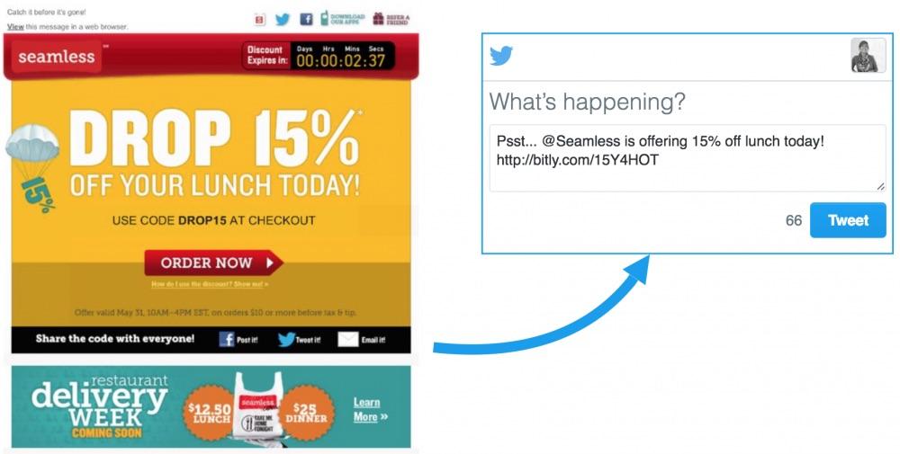 Screenshot of Seamless email promoting 15% deal through social media