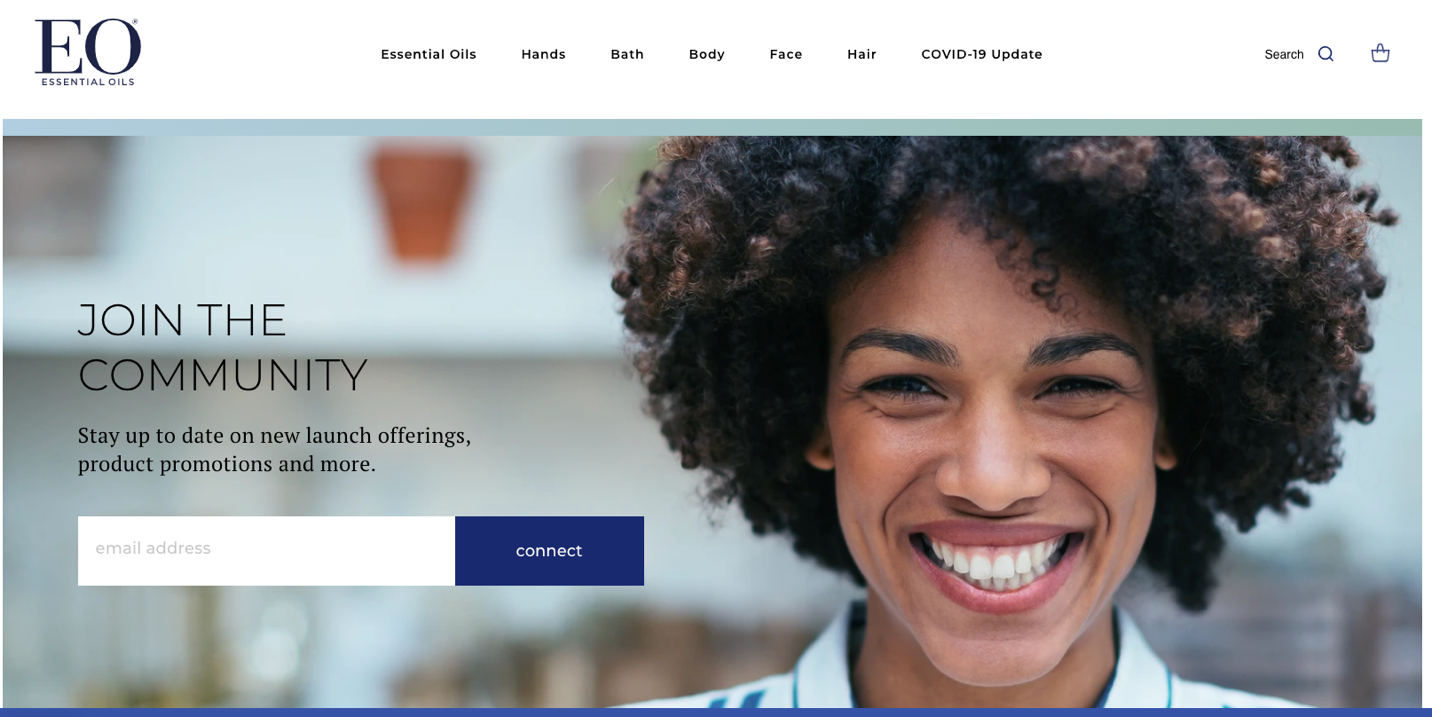 Screenshot of emai sign-up form from EO products featuring the face of a smiling woman