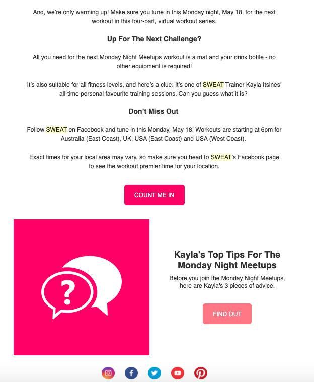 Screenshot of SWEAT app email