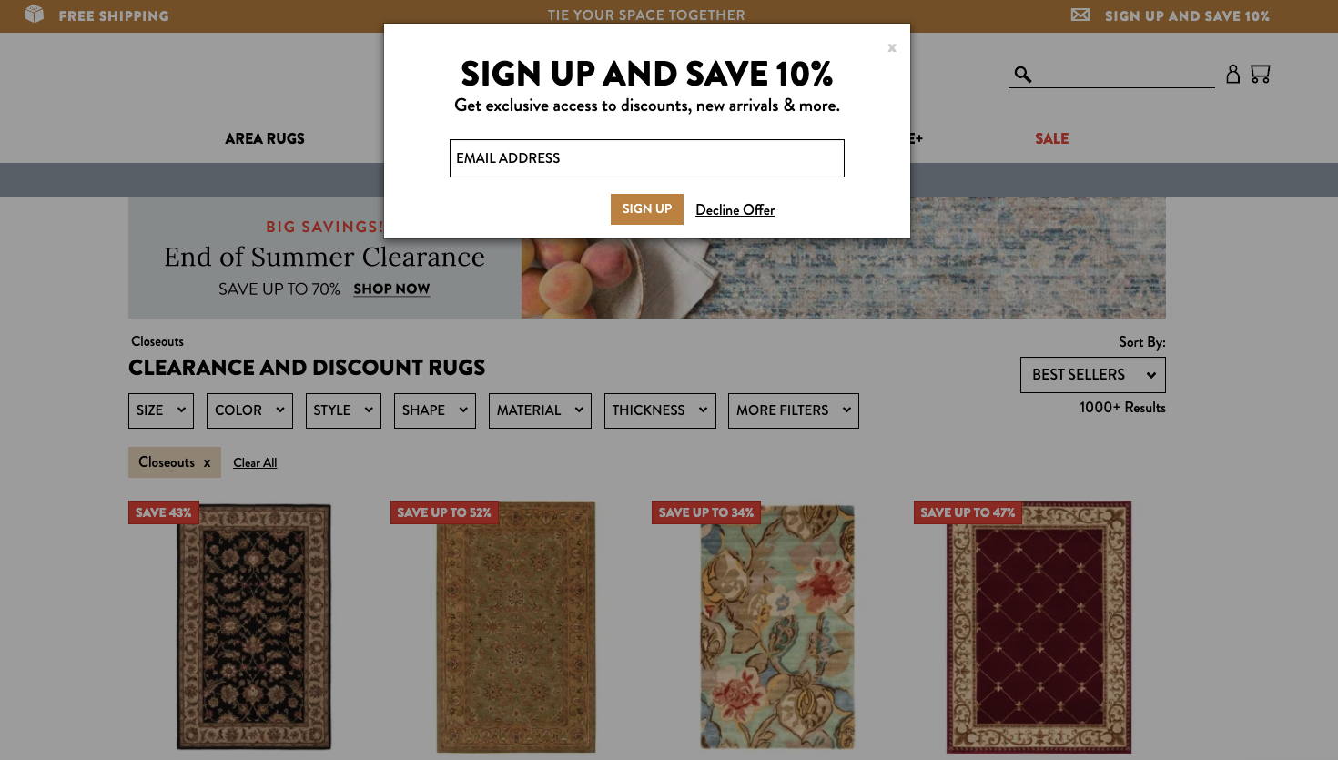 Screenshot of Rugs Direct home page with pop-up