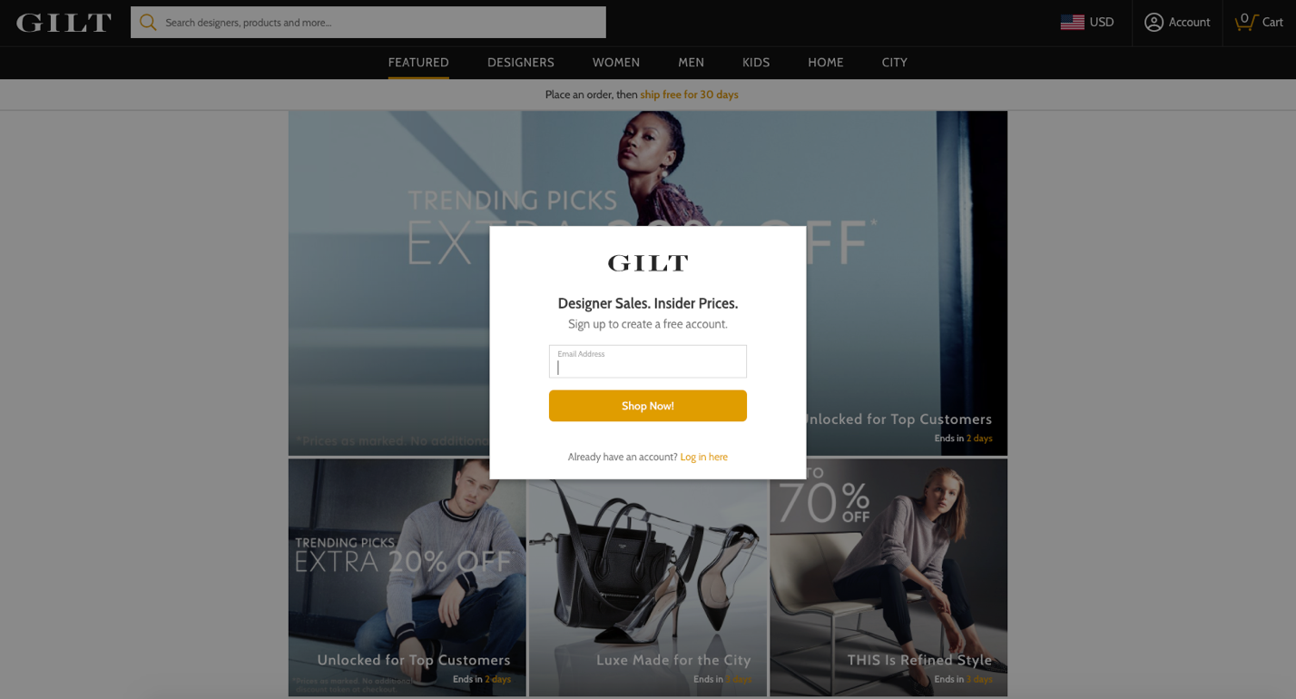 Screenshot of Gilt homepage email sign-up form
