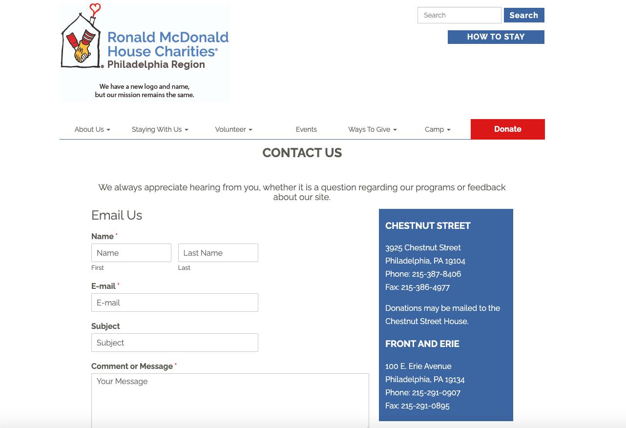 Screenshot of The Philadelphia Ronald McDonald House website contact form