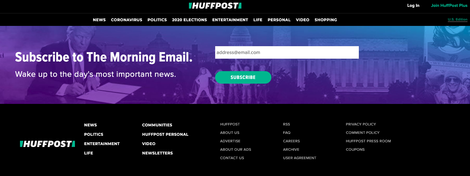 Screenshot of Huffington Post email subscription landing page