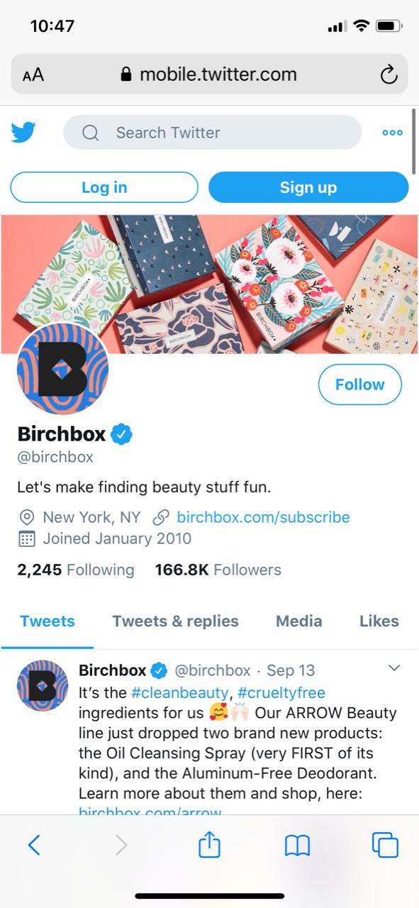 Screenshot of Birchbox twitter account