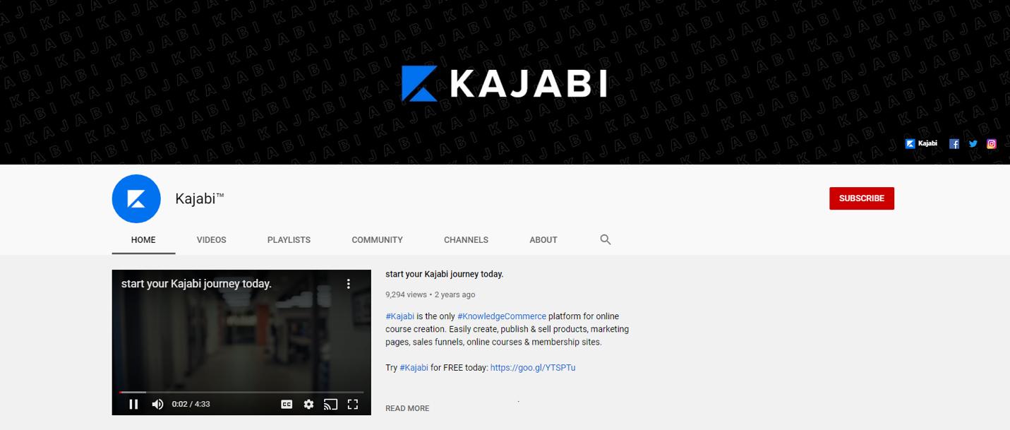 YouTube channel banner for Kajabi
