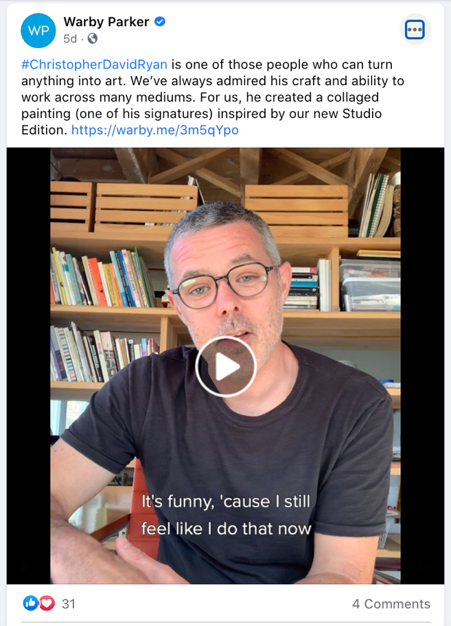 Warby Parker Facebook post of video showing man in black shirt sitting in front of wooden bookshelf speaking to camera