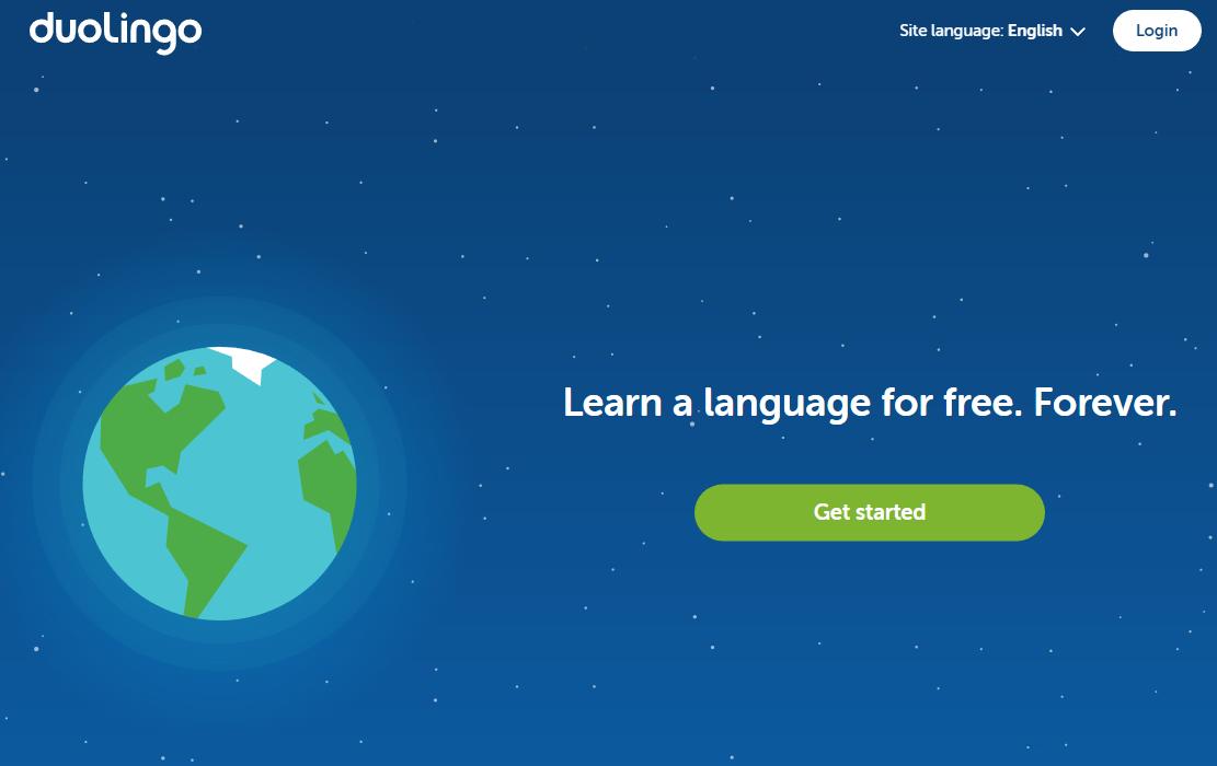 A screenshot of the Duolingo homepage