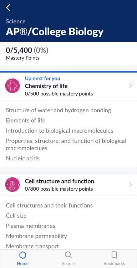 A screenshot of the Khan Academy iOS app