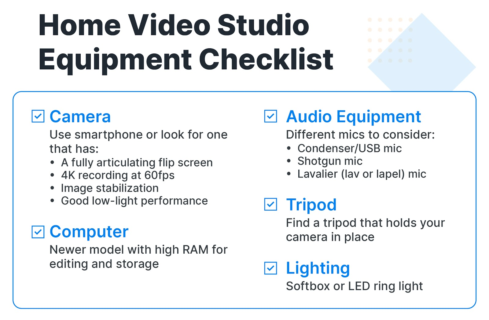 Checklist of items needed for a home video studio