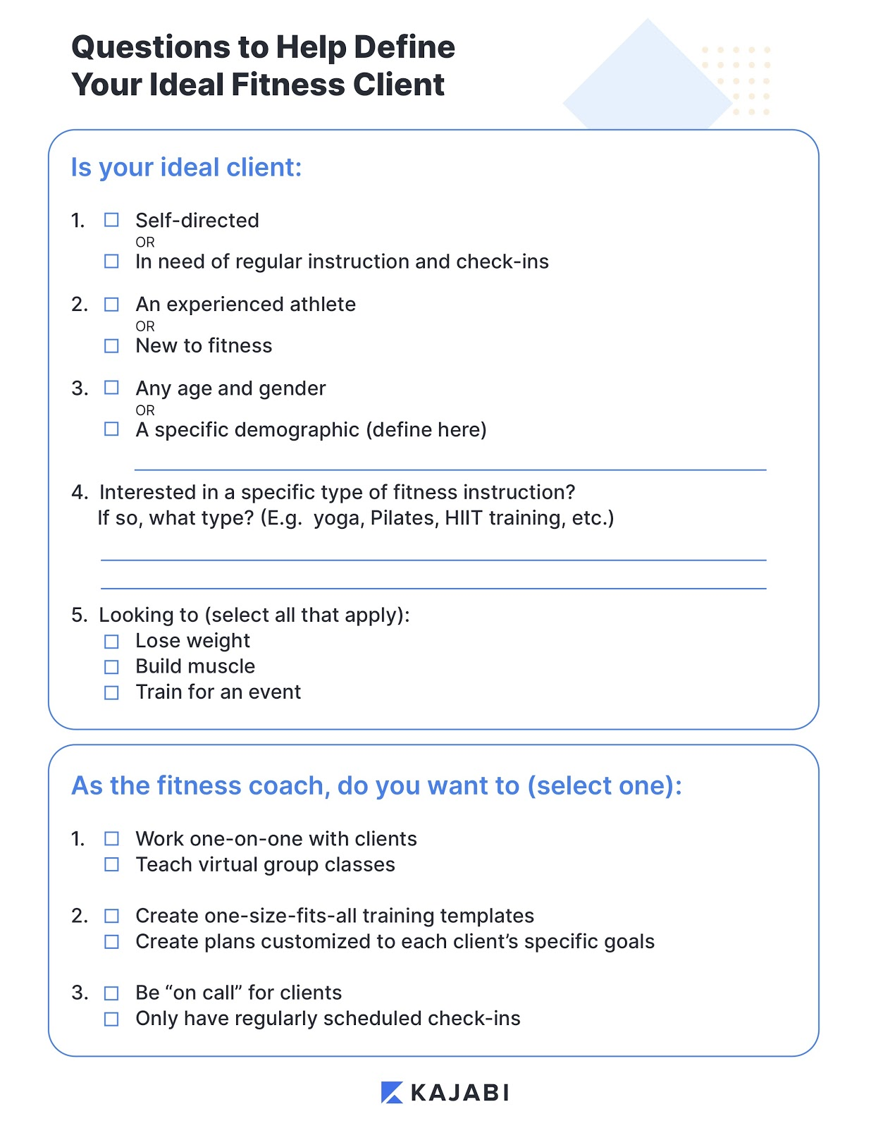 Worksheet to help fitness coaches define their ideal client
