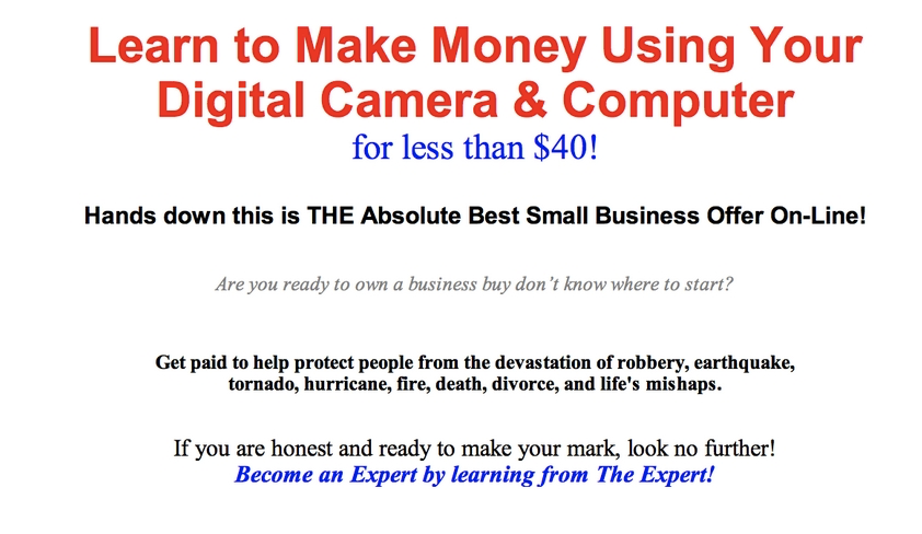 Spammy looking landing page for an online business class